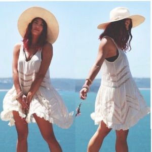 Free People Intimately Voile / Lace Trapeze dress